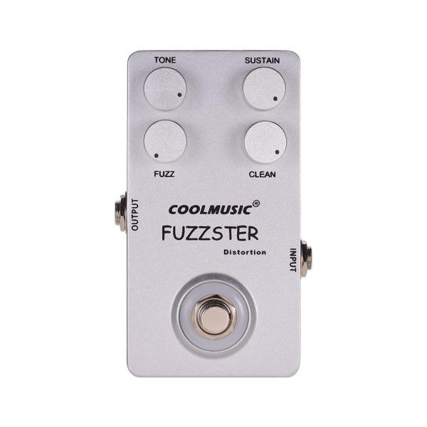COOLMUSIC C-FC1 Fuzzster Distortion Guitar Effect Pedal Bass Fuzz Pedal for Electric Guitars Alluminum Alloy Shell Silver