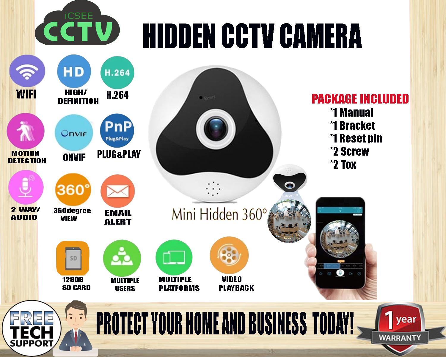 1year Warranty ICSee CCTV Smart Home Security Mini 360 degree Panoramic IP VR SmartPhone Camera Wireless Wifi hidden Spy Ceiling FishEye Camera and Two way Audio To Talk