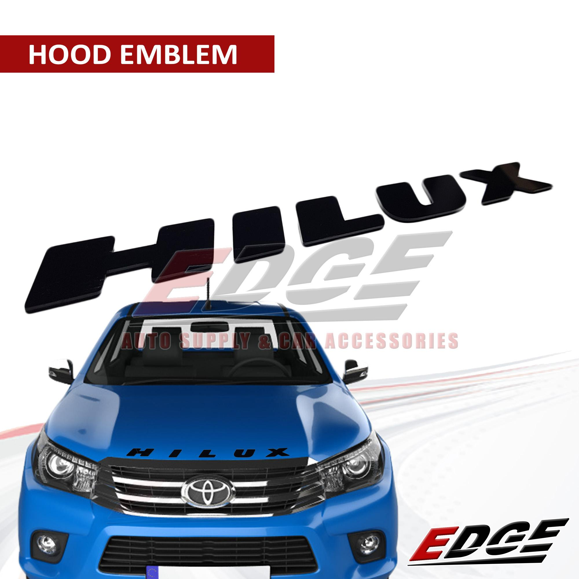 (black) Hilux Hood Emblem // Revo Vigo Conquest Toyota Trd Adhesive Ready Stick-On Logo Symbol Sign 3d Racing Development Car Displacement Auto Exterior Accessories Trunk Rear Hood Fender Badge Sticker Type Acrylic By Edge Auto Supply & Car Accessories.
