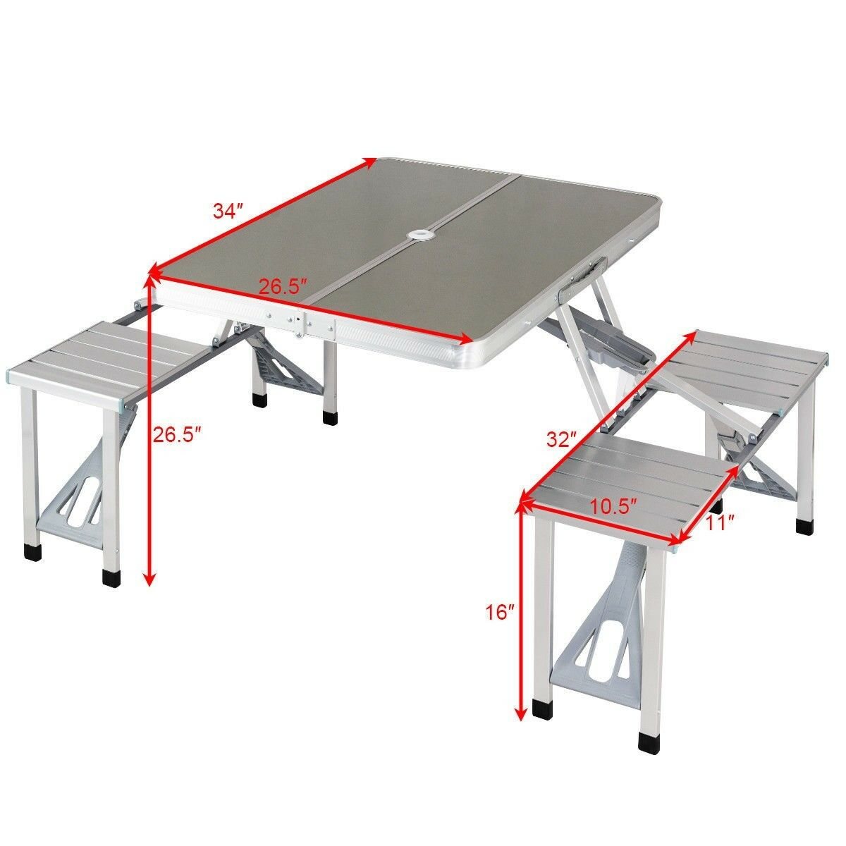 Picture of: Luckyhome Portable Aluminum Foldable Picnic Table With Seating For Four Lazada Ph