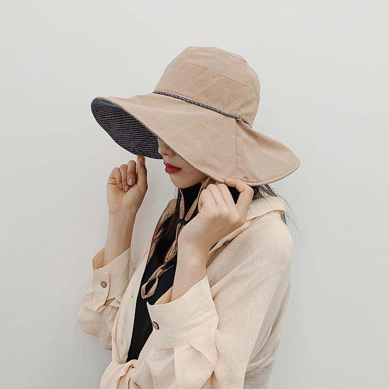 5c2eda8d Online Celebrity Bucket Hat Female Versatile INS Big Brim Sun Hat Spring  And Summer Days Korean