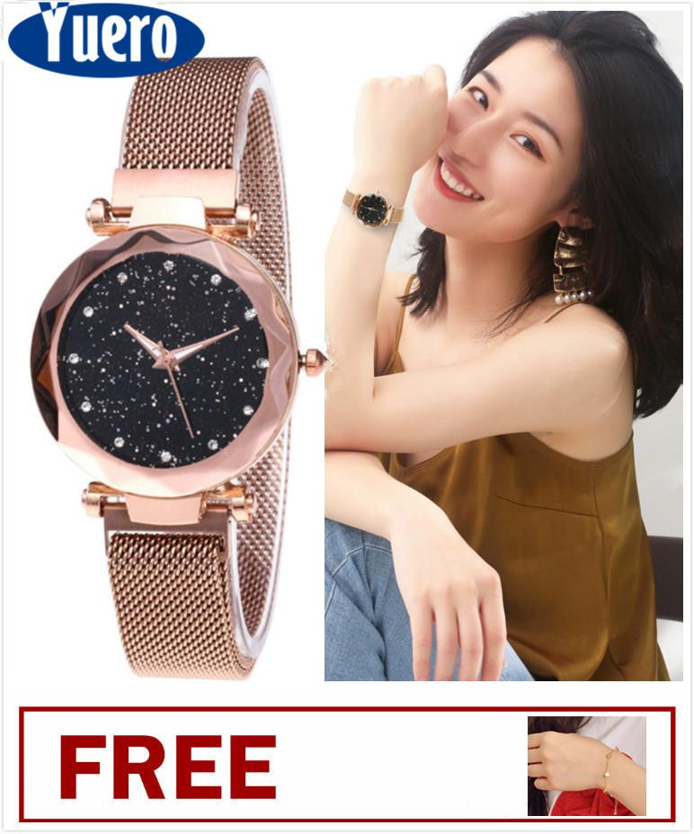 Yuero Luxury Women Watches Minimalism Starry sky Magnet Buckle Fashion  Casual Female Wristwatch Roman Numeral Rose 4671ebe98