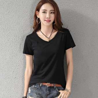 คอวีสีขาวเสื้อยืดแขนสั้นหญิง 2019 ใหม่สำหรับฤดูร้อนสไตล์เกาหลีฝ้าย100% สลิมเข้าได้หลายชุดแขนเสื้อครึ่งแขนเสื้อยืดเสื้อตัวเล็กเสื้อ-