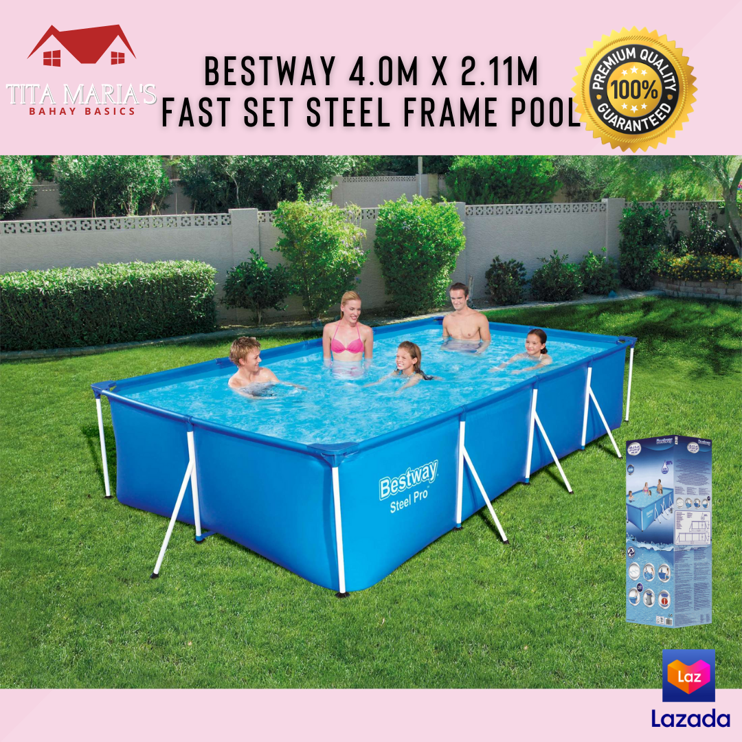 Bestway 4 0m X 2 11m Fast Set Steel Frame Swimming Pool 5700l Capacity Rectangular Pool Outdoor Swimming Pool For Home Use Lazada Ph