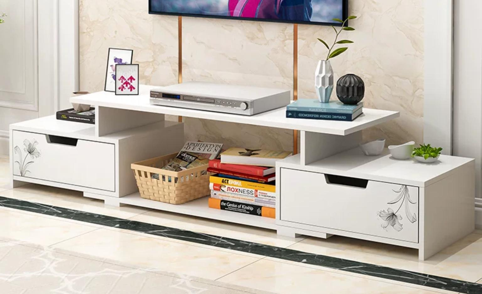 Tv stand wood f07 white brown