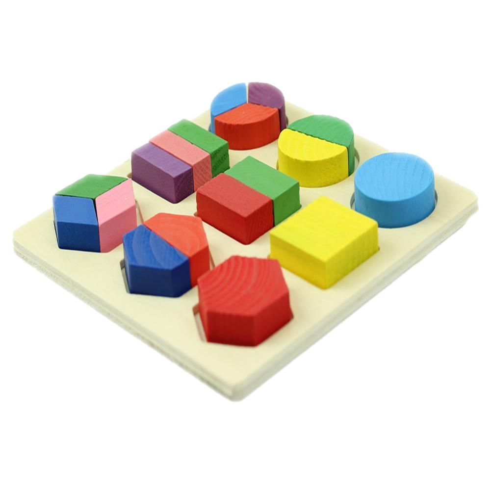 Colored Baby Kids Wooden Aliquots Boards Learning Educational Toy Geometry Block Puzzle Toys Montessori Early By Benefitwen.