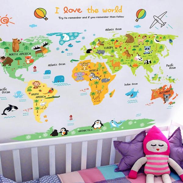 Topmissdeng Cartoon world map PVC DIY Self Adhesive Vinyl Wall Stickers Bedroom Home Decor for Children Room Decoration Art Wall Decal Mural