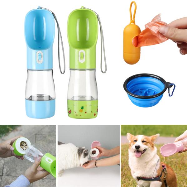 NHUWBM SHOP Du lịch Ngoài trời Cốc nước Cầm tay Thùng lưu trữ Chai nước uống cho thú cưng Máy rút thức ăn cho chó con Bình nước cho chó
