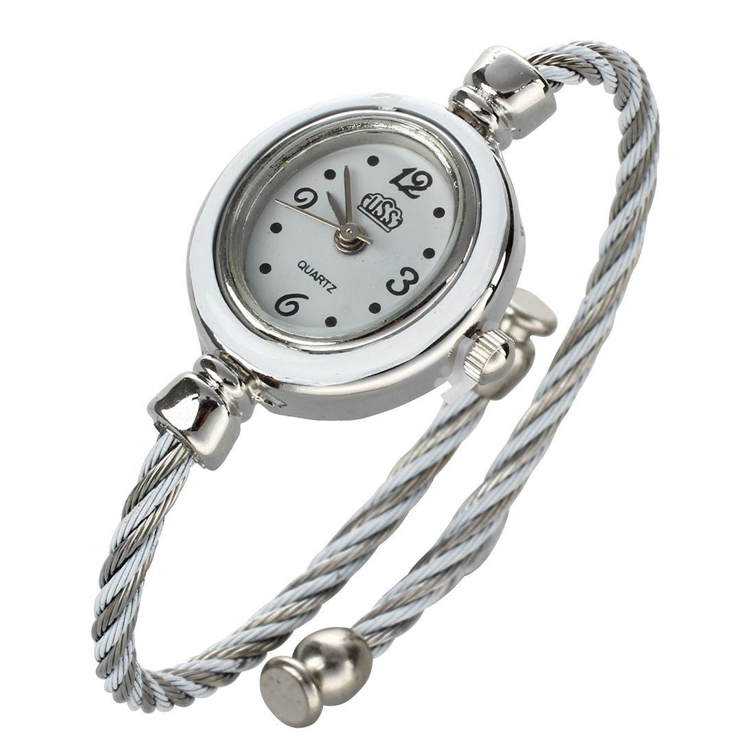 Fashion Girls Ladies Rope Charming Bracelet Wrist Watch Grey and White Malaysia