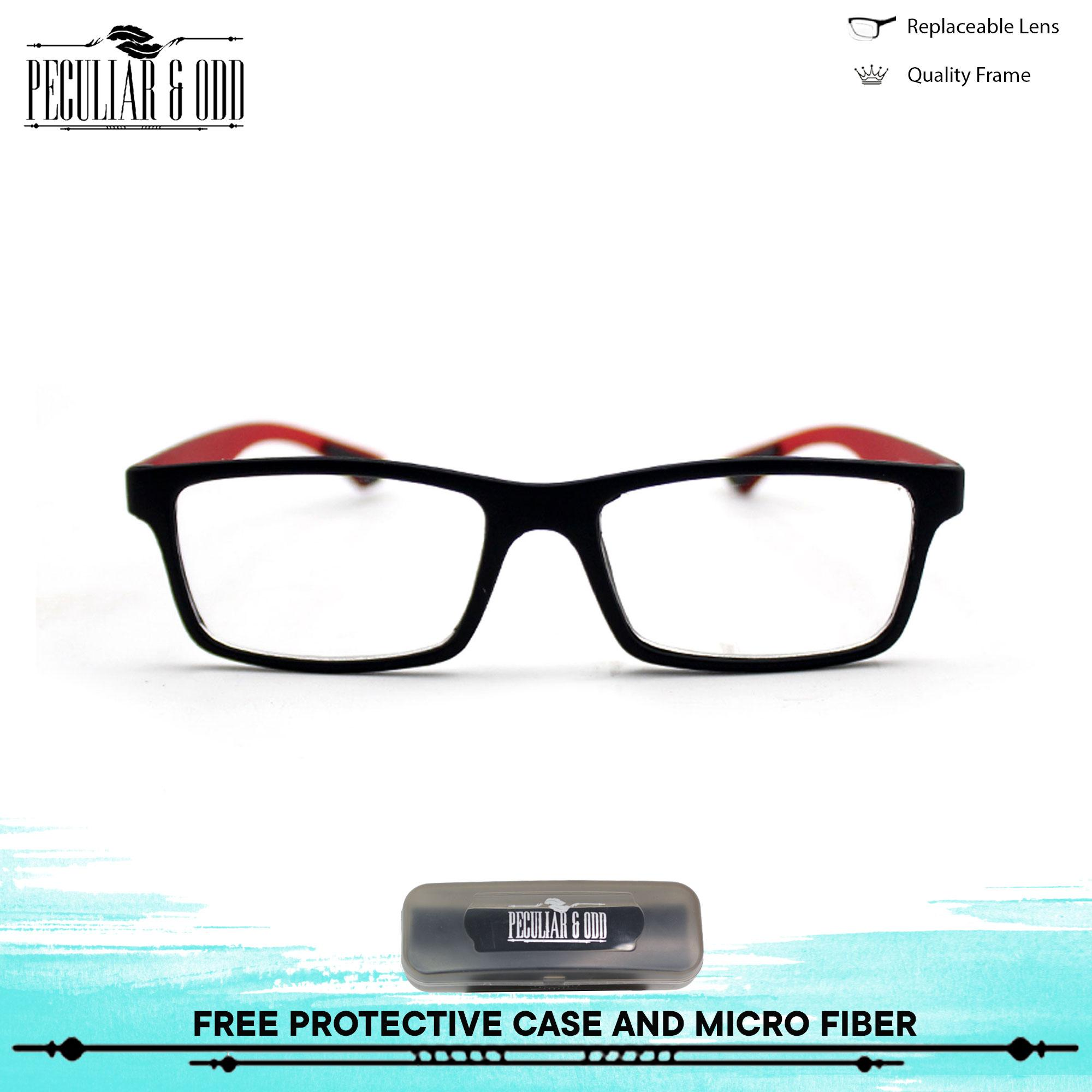785197c64ca Optical Rubberized Frame 7926 BlackRed Rectangular Computer Eyeglasses Anti  Glare Replaceable Lens with Rubberized Template Stopper Unisex