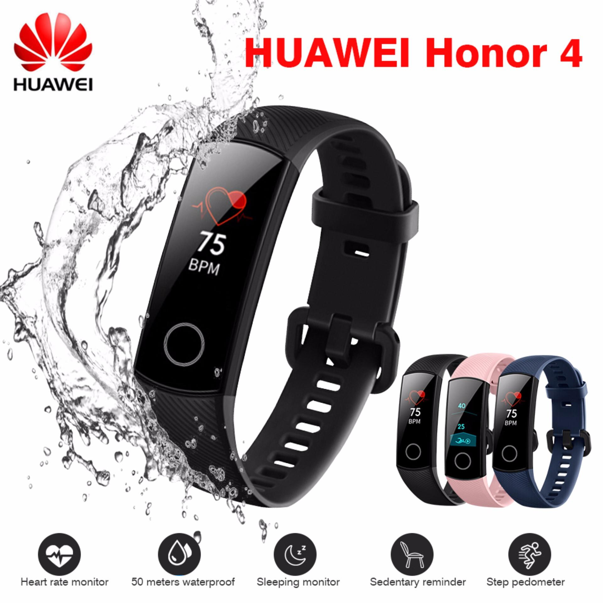 (50m Waterproof) 100% Original Huawei Honor band 4 Smart Wristband 0 95  inch Screen Bluetooth 4 2 Call / Message Reminder Heart Rate Monitor
