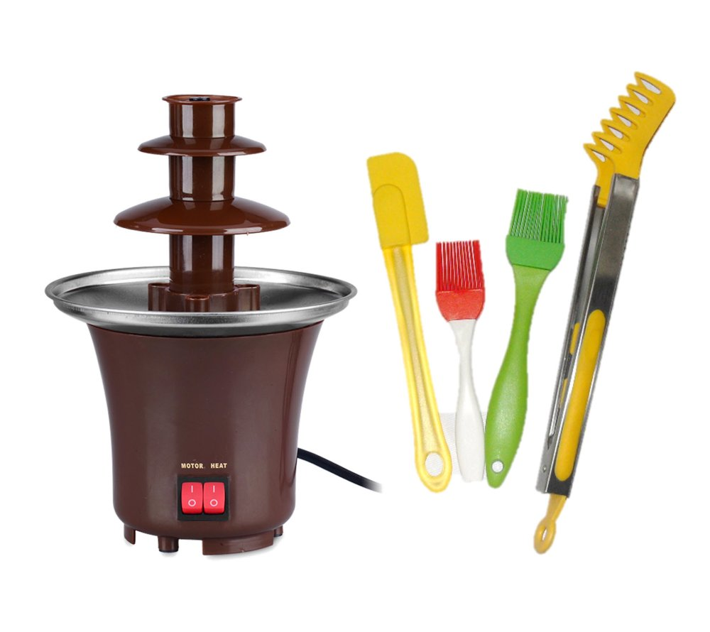 Chocolate Fondue Fountain (Brown) with 4-Piece Silicon Tool Set product preview, discount at cheapest price