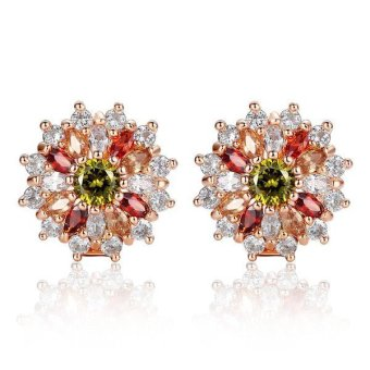 Christmas Big Sale Gold Plated Pendant Earrings Cubic Zircon Girls Ladies Jewelry Gift) - Intl