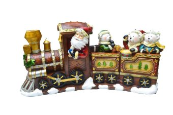 Christmas Santa Claus with Polar Bear to North Pole in Train Figurine for the Holiday (Made of Fiberglass Resin) by Everything About Santa (Christmas decoration and gift suggestion)