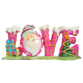 Santa Claus forming word LOVE (Pink) Figurine for the Holiday (Made of Fiberglass Resin) by Everything About Santa (Christmas decoration and gift suggestion)
