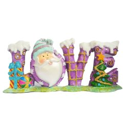 Santa Claus forming word LOVE (Violet/Purple) Figurine for the Holiday (Made of Fiberglass Resin) by Everything About Santa (Christmas decoration and gift suggestion)