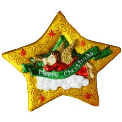 Christmas Tree Trimmings Star in Gold Figurine for the Holiday (Made of Fiberglass Resin) by Everything About Santa (Christmas decoration and gift suggestion)