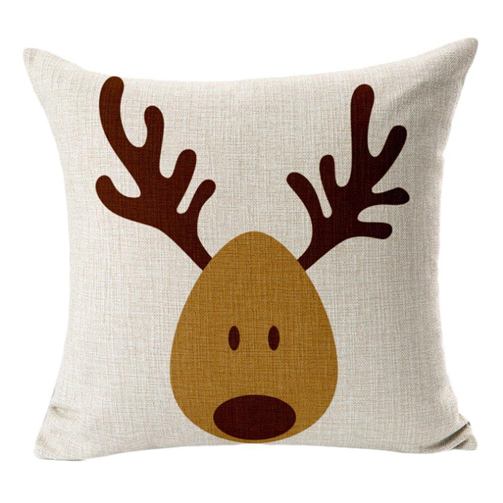 Christmas reindeer elk cotton pillowcase - Intl - thumbnail