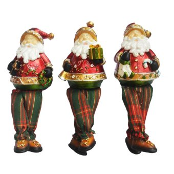 Set of 3 Santa Claus with Fabric Leg Figurine for the Holiday (Made of Fiberglass Resin) by Everything About Santa (Christmas decoration and gift suggestion)