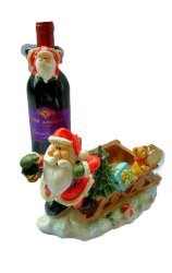 Santa Claus Wine Holder Sleigh with wine accent Figurine for the Holiday (Made of Fiberglass Resin) by Everything About Santa (Christmas decoration and gift suggestion)