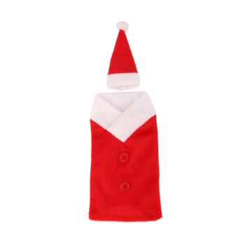 Christmas Santa Suit Wine Bottle Cover Wrap Hat Cap Holiday Decoration Gift