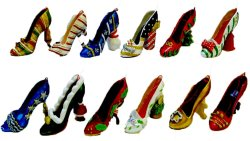 Christmas Shoes Mini Figurines Set of 12  Gift Idea Giveaway and Christmas Tree Ornaments (with Santa Claus, Snowman, Reindeer etc.)