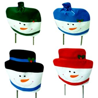 Christmas snowman Christmas coverings 1 set of 4 chairs set combination 50X60CM- Intl
