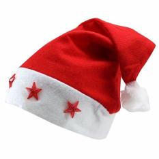 1564cd453c127 Christmas Xmas Santa Claus Hat Christmas Cap With Blinking Star Light (Red)
