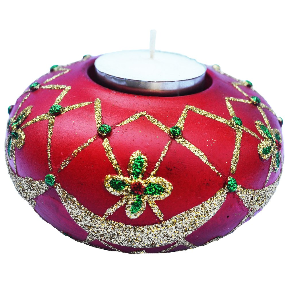 Christmas Classic Table Top Red Candle Holder with glitters Figurine for the Holiday (Made of Fiberglass Resin) by Everything About Santa (Christmas decoration and gift suggestion) - thumbnail