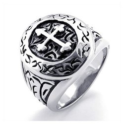 Classic Vintage Cross Mens Ring Stainless Steel Band Silver (Intl)