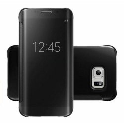 Clear Flip View Cover for Samsung Galaxy S7 Edge (Black)