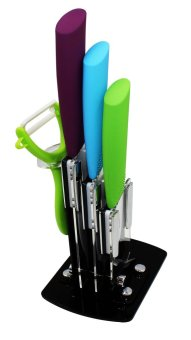 Colorful Ceramic Knives 3pc Set with Peeler and Stand