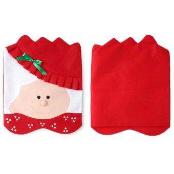 creative mrs Santa Cute Chair Back Set&Covers Dinner Decor Christmas Room Decoration- Intl