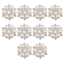Crystal  Faux Pearl Flower Button Decoration DIY 28mm 10pcs Beige