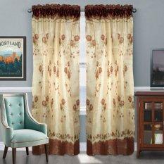 Curtain Decor Fresh Rose Brown Sheer Window Panel 2pcs