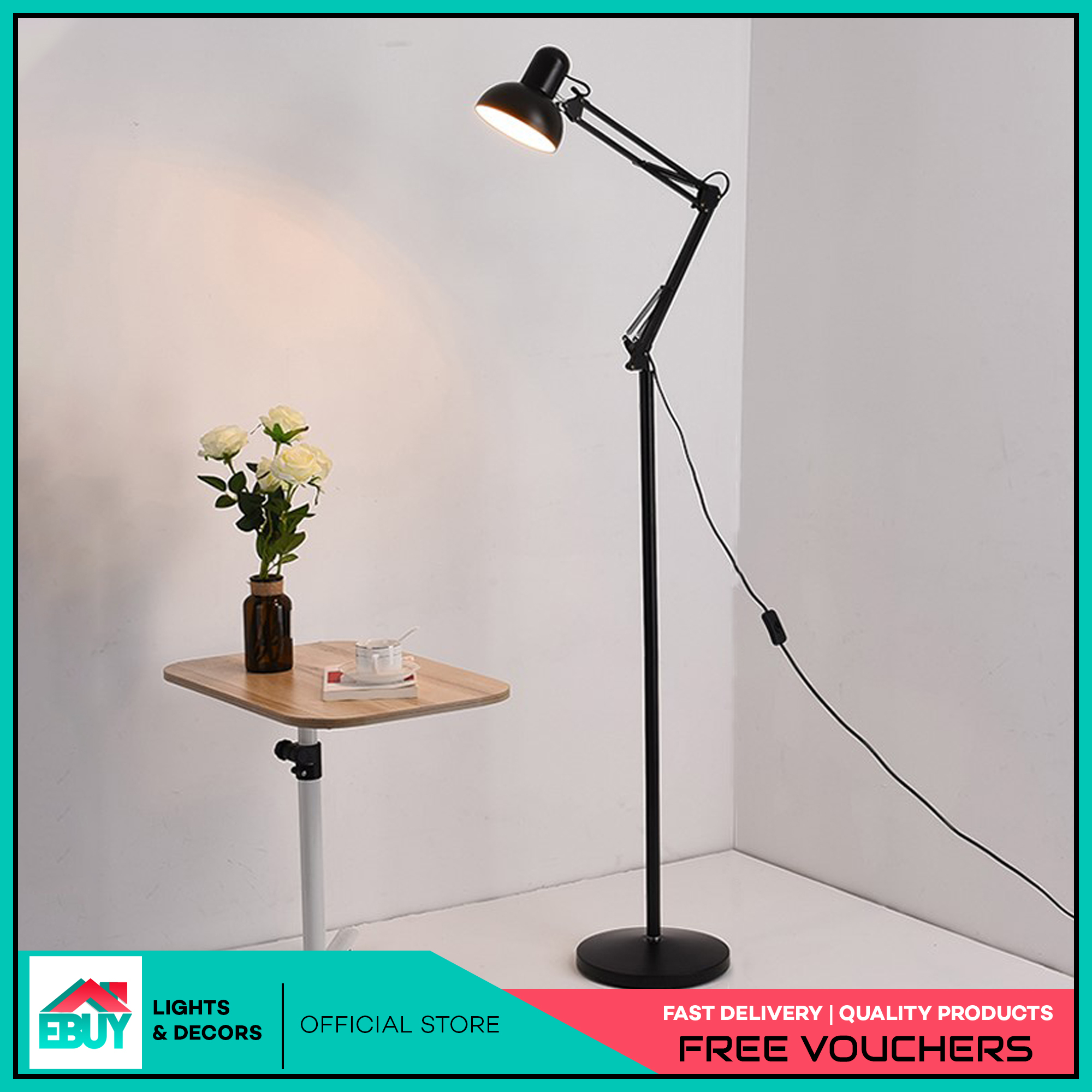 Metal Adjustable Long Swing Arm Floor Lamp Office Led Reading Led Lamp No Bulb Included Lazada Ph