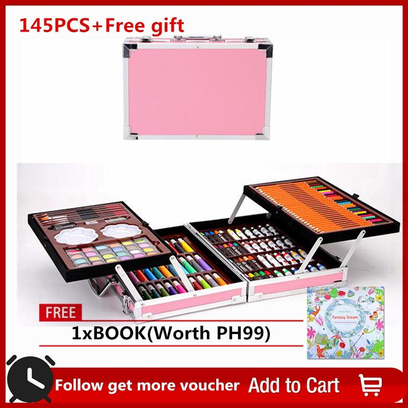 7461b4dede1e 【Free gift】Great-King 145 PCS. ART COLORING DRAWING PAINTING SET with  Aluminum Alloy Case