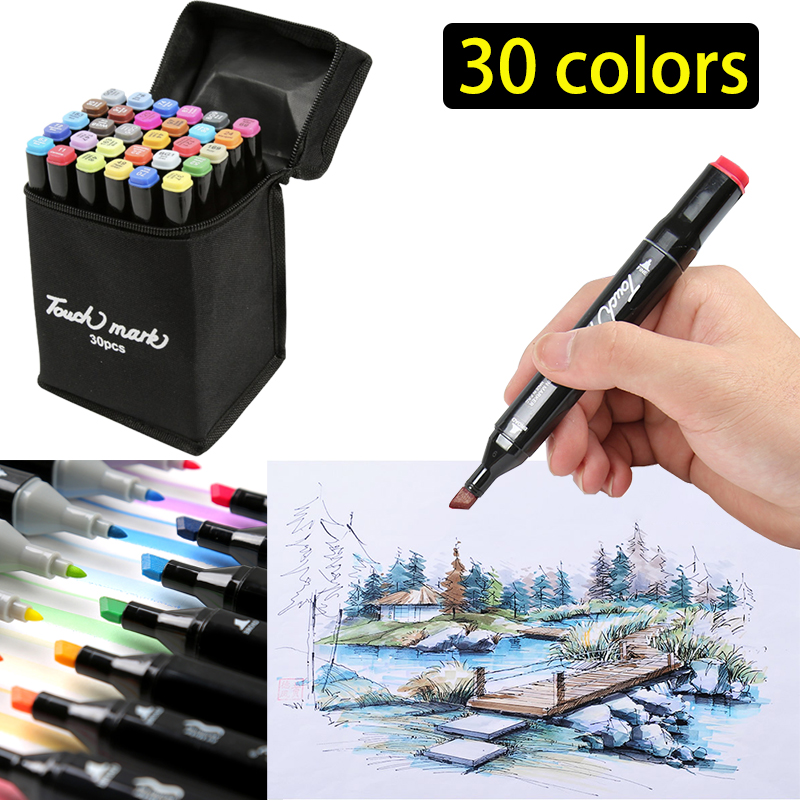 Dual Tip Sketch Markers 30 Alcohol Markers Set Art Markers for Adults Alcohol Based Drawing Markers for Adult Coloring Artists and Kids