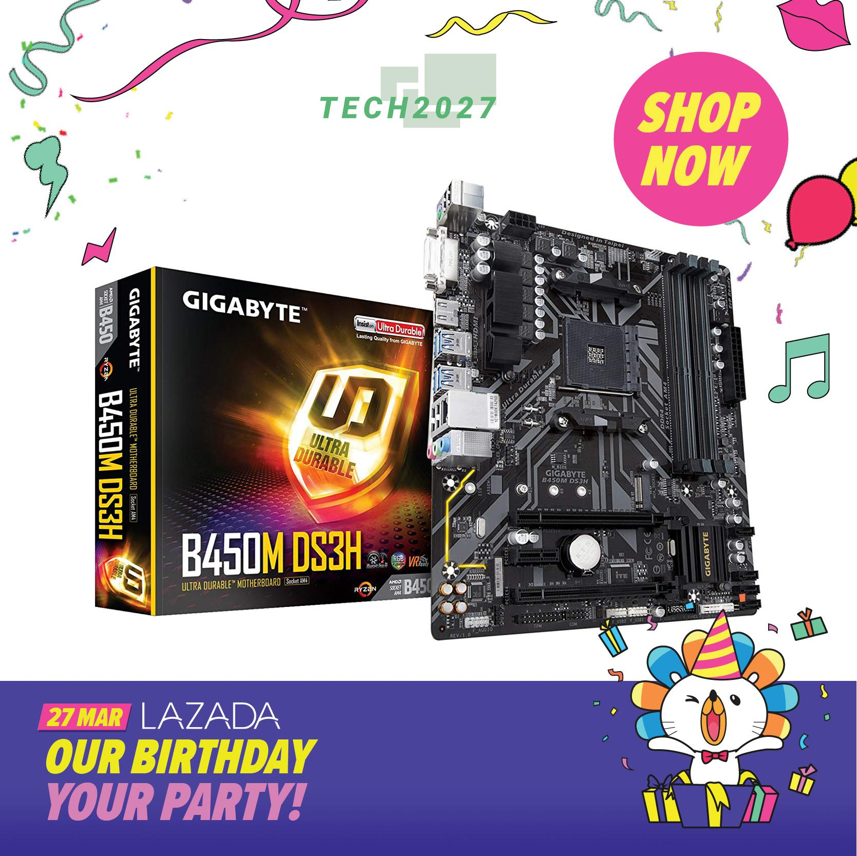 Gigabyte B450m Ds3h Ddr4/amd Ryzen Am4/b450/micro Atx Motherboard By Tech2027.