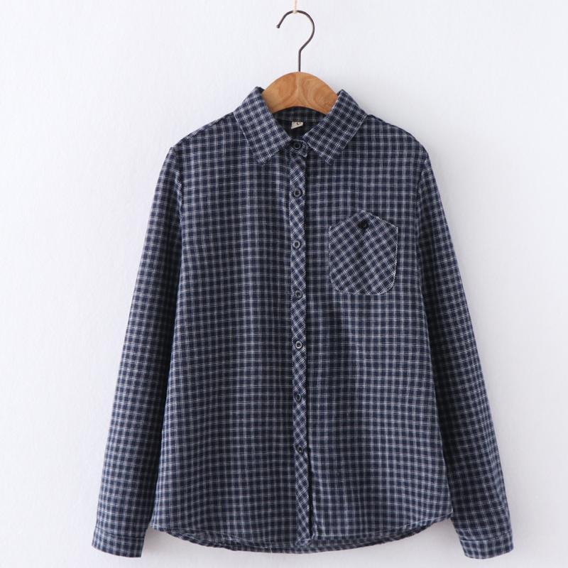d636236021fdd4 Spring Clothing 2019 a women Plaid Shirt Korean Style Shirt Versatile Tops  Base Vintage Hong Kong