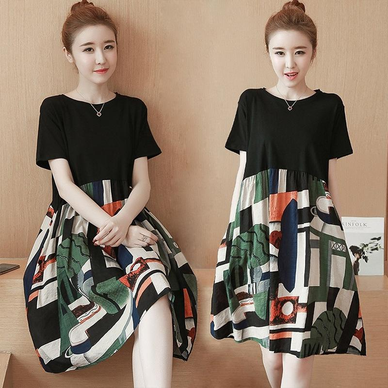 d609029b4 SZWL Summer Dress Fashion Women Dress Printing Splice Loose Korean Style  A-line Short Sleeve