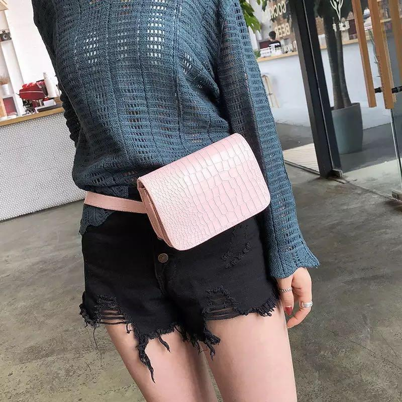 e177689e87112 Ella Fashion  615 Women Crocodile Pattern Mini Leather Multifunction Waist  Bag Belt Bag Fanny Pack