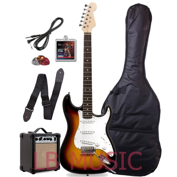 Knight Stratocaster with Portable Amplifier electric guitar Package  (Sunburst)