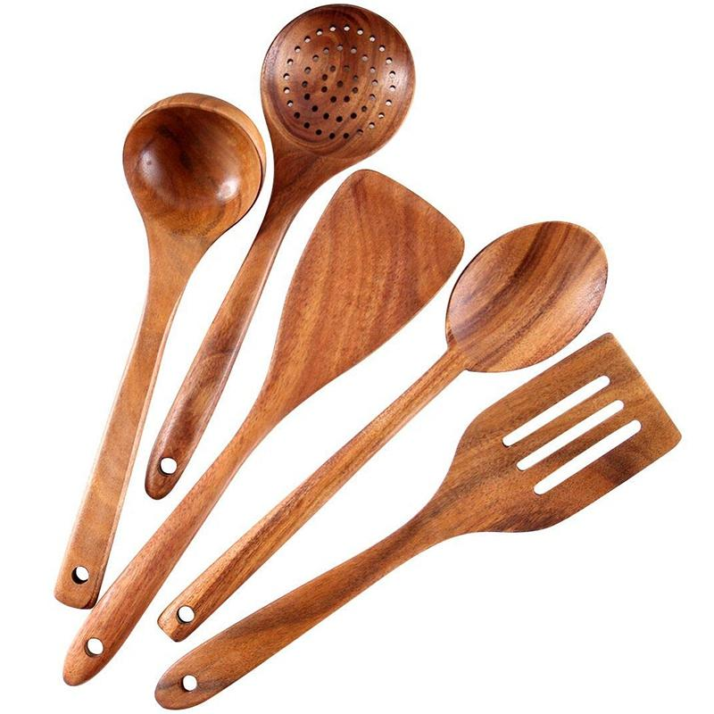 Healthy Cooking Utensils Set Wooden Cooking Tools Natural Nonstick Hard Wood Spatula and Spoons - Durable Eco-Friendly and Safe Kitchen Cooking Spoon