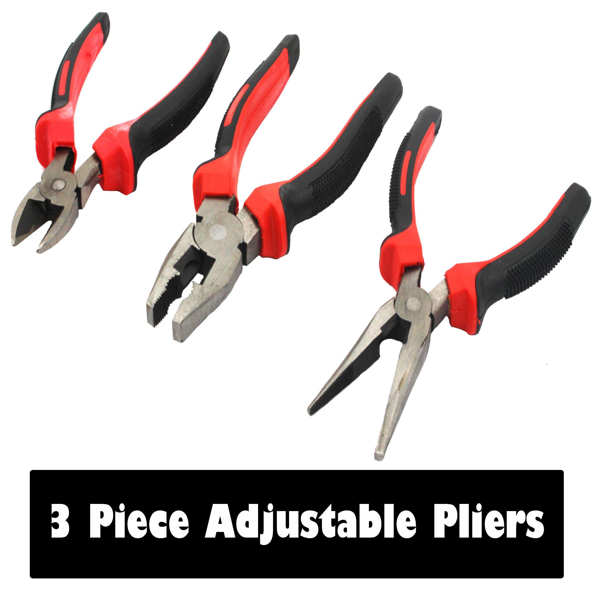 3-Piece Adjustable Pliers Set (Black/red)