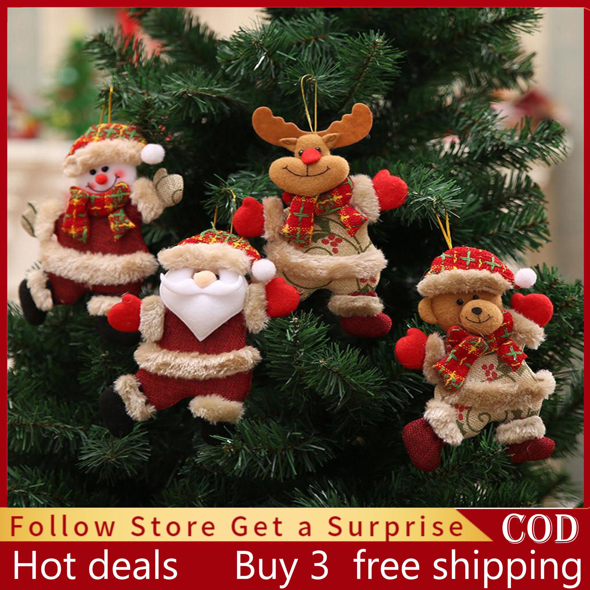 Cod 4pcs Christmas Ornaments Gift Santa Claus Snowman Xmas Decoration Christmas Tree Ornaments Toy Doll Hang Christmas Decorations On Sale Lazada Ph