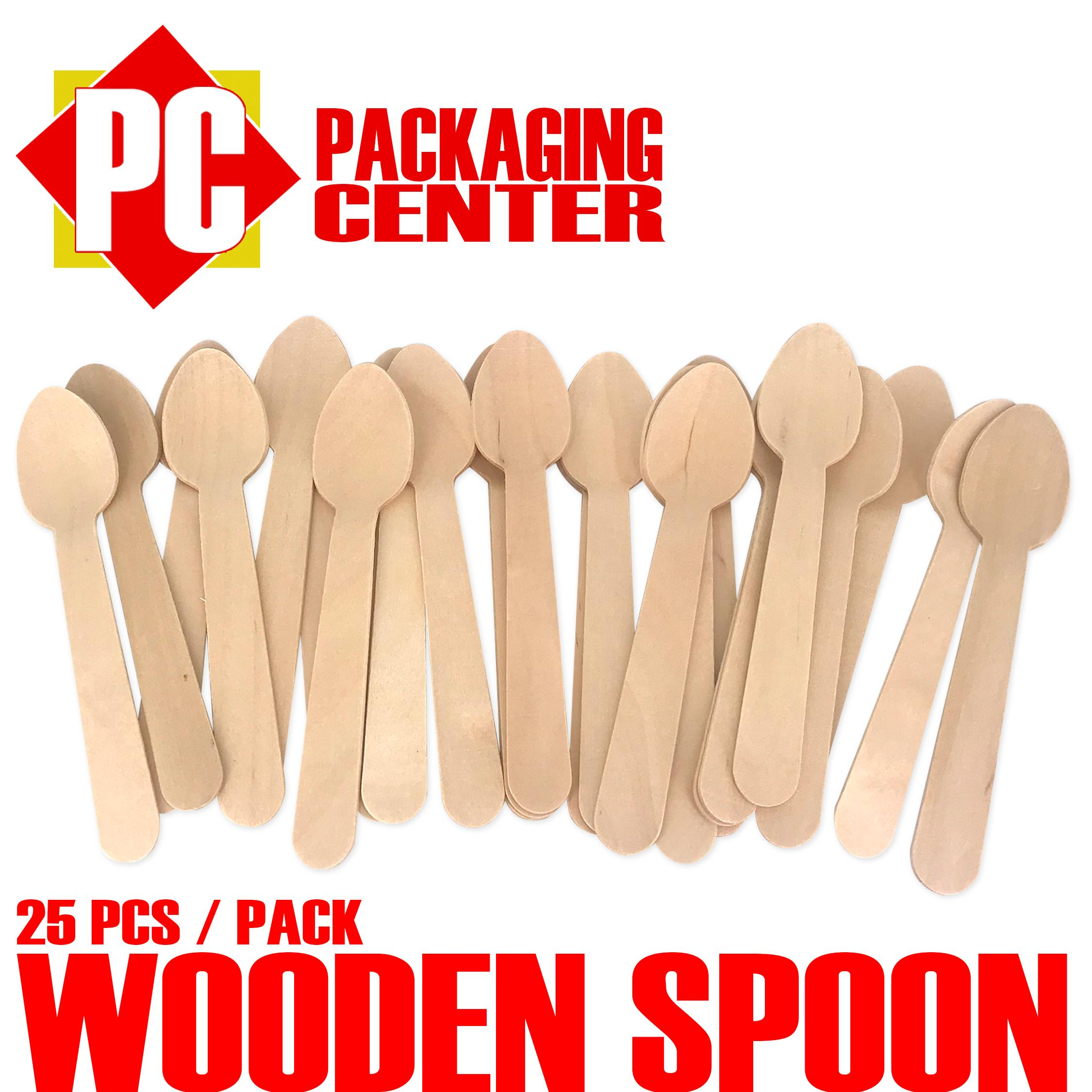 Wooden Spoon By 25pcs Per Pack By Pc Packaging Center.