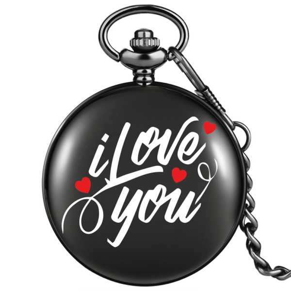 AIKEN Retro I Love You Unisex Quartz Analog Pocket Watch Pendant Necklace Chain Best Gift to Lover Malaysia