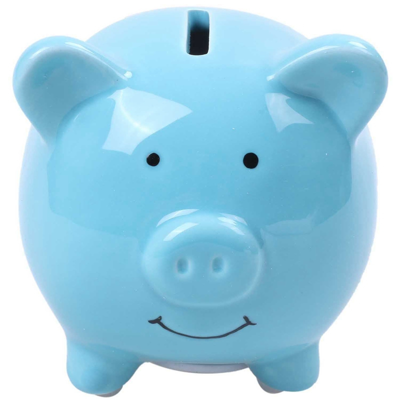 Blue Ceramic Childs Pig Piggy Bank With Re move-able Top Lid