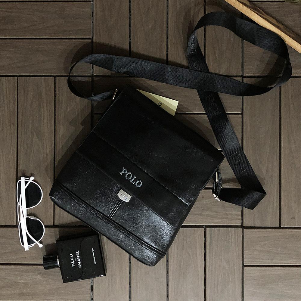 Men/'s Messenger Bag Shoulder Male Leather Crossbody Bags POLO Travel Briefcase